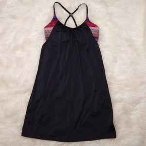 Athleta Tankini Swimsuit Top 34 D DD Stripes Black